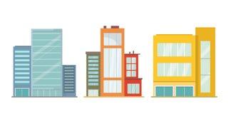 Установите домов, небоскребов и офисных зданий иллюстрация штока