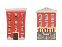 Установите дом квартир с кофейней на изолированной белой предпосылке также вектор иллюстрации притяжки corel бесплатная иллюстрация