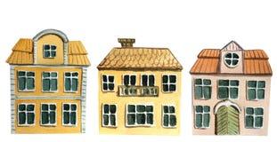 Установите европейских двухэтажных домов на белой предпосылке иллюстрация акварели для дизайна иллюстрация вектора