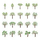 Установите деревья и листья цвета также вектор иллюстрации притяжки corel Стоковая Фотография