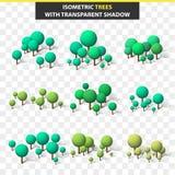Установите деревья 3D в isometry и прозрачной тени Равновеликое дерево Стоковые Фото