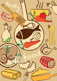 Установите еду, иллюстрацию Стоковые Фото