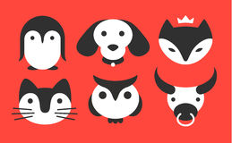 Установите животный плоский логотип - vector иллюстрация, эмблема на красной предпосылке Стоковые Изображения