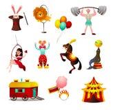 Установите животных и человека цирка красочных на арене праздника иллюстрация штока