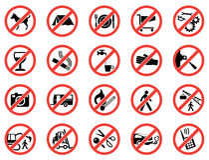 Установите запрещенные знаки Стоковое Фото