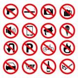 Установите знаков запрета значков иллюстрация вектора