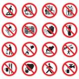Установите знаков запрета красного круга стандартных иллюстрация штока