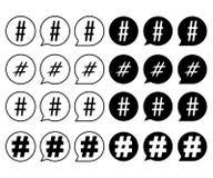 Установите знаков hashtag черно-белый иллюстрация штока