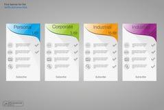 Установите знамена тарифов Таблица оценки сети Дизайн вектора для сети app 4 покрашенных знамени Стоковая Фотография RF