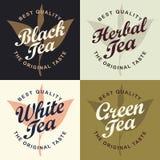 Установите 4 знамен для разных видов чая бесплатная иллюстрация