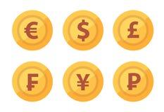 Установите значка монеток валюты изолированного на белой прозрачной предпосылке в векторе иллюстрация вектора