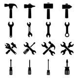 Установите значки инструментов Стоковые Изображения RF