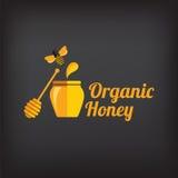 Установите значки и ярлыки меда Абстрактный дизайн пчелы Стоковое Изображение