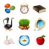 Установите значки на праздник Nowruz Иранский Новый Год также вектор иллюстрации притяжки corel Стоковые Фото