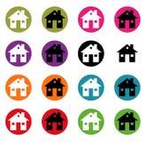 Установите значки дома кнопки для вашего дизайна Стоковые Фото