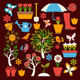 Установите значки садовничать и весна связала детали Стоковая Фотография