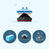 Установите значки с контейнером, сухим грузовим кораблем, краном с контейнерами в доке, иллюстрации вектора Стоковая Фотография RF