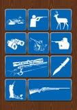 Установите значки уток, охотника, оленя, биноклей, телескопичного визирования, винтовки Значки в голубом цвете на деревянной пред Стоковое Изображение RF