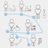Установите значки для вебсайта с бизнесменом и концепцией идеи Стоковое Изображение