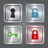 Установите значки app, металлическое собрание кнопок блокировки. Стоковые Фото