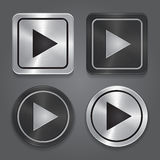 Установите значки app, реалистическую металлическую кнопку игры с стоковые изображения rf