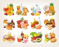 Установите значков еды аранжированных в категориях иллюстрация вектора