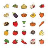 Установите значков еды руки вычерченных иллюстрация штока