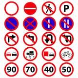 Установите значков знаков запрета дороги иллюстрация вектора