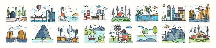 Установите значков или символов ландшафта Собрание красивых естественных пейзажей - пляж, лагерь леса, сельская местность, пустын иллюстрация штока