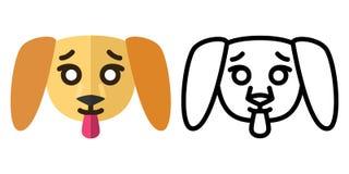 Установите значков - логотипов в линейном и плоском стиле голова милого щенка r иллюстрация вектора