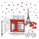 Установите значков руки вычерченных французских, иллюстрации эскиза Парижа иллюстрация вектора