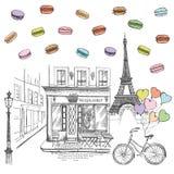 Установите значков руки вычерченных французских, иллюстрации эскиза Парижа иллюстрация штока