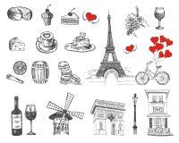 Установите значков руки вычерченных французских, иллюстрации эскиза Парижа бесплатная иллюстрация