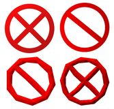 Установите значков с красными символами запрета бесплатная иллюстрация