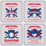 Установите значок бейсбола, логотип, турнир эмблемы в винтажном ретро хлеве Стоковое Изображение