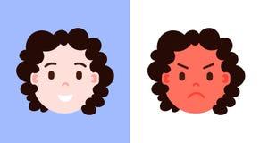 Установите значок персонажа emoji девушки головной с лицевой стороной эмоций, характера воплощения, удовлетворяемой и сердитой с  иллюстрация штока
