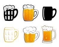 Установите значок пива лагера Стоковые Изображения RF