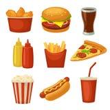 Установите значок фаст-фуда Придайте форму чашки кола, обломоки, буррито, гамбургер, символ ног жареной курицы пиццы для поставки иллюстрация вектора