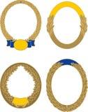 Установите 4 золотых овальных границ лавра и дуба бесплатная иллюстрация