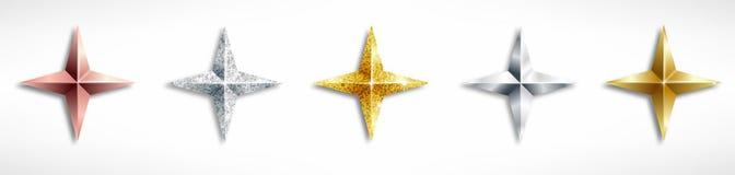 Установите золотых реалистических звезд иллюстрация штока