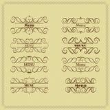 Установите дизайн вензеля каллиграфии флористический, винтажный логотип картины Стоковое фото RF