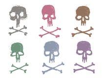 Установите 6 изображений штемпелей черепов Стоковые Изображения RF