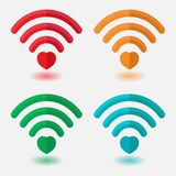 Установите изображений Wi-Fi с сердцем, сигналом сердца, betw соединения бесплатная иллюстрация