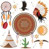 Установите изображения элементов коренного американца бесплатная иллюстрация