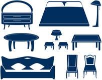 Установите изолированные предметы мебели Стоковая Фотография