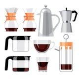 Установите изолированную стеклянную кофейную чашку, бак кофе Стоковая Фотография RF