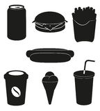 Установите иконы силуэта черноты быстро-приготовленное питания   Стоковое Изображение