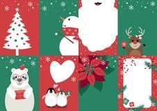 Установите иллюстрации вектора дизайна рождественской открытки иллюстрация штока