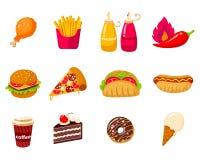 Установите иллюстрации значка вектора фаст-фуда с бургером, хот-догом, сэндвичами стоковые изображения
