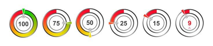 Установите индикаторов цвета диаграмм процента иллюстрация штока
